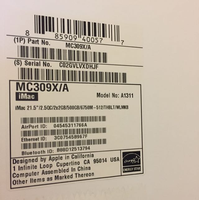IMac 21.5-inch Mid 2011. 2.5GHz Intel Core i5 16 Gb 1333 MHz DDR3