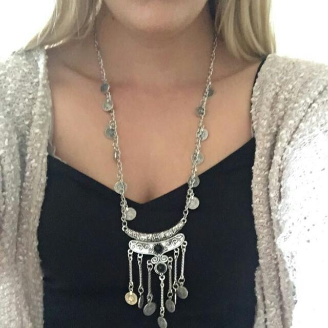 Long Tassel Coin Necklace
