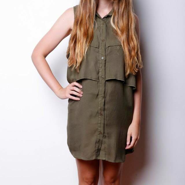 MINK PINK - Khaki Button Up Sleeveless Layer Dress