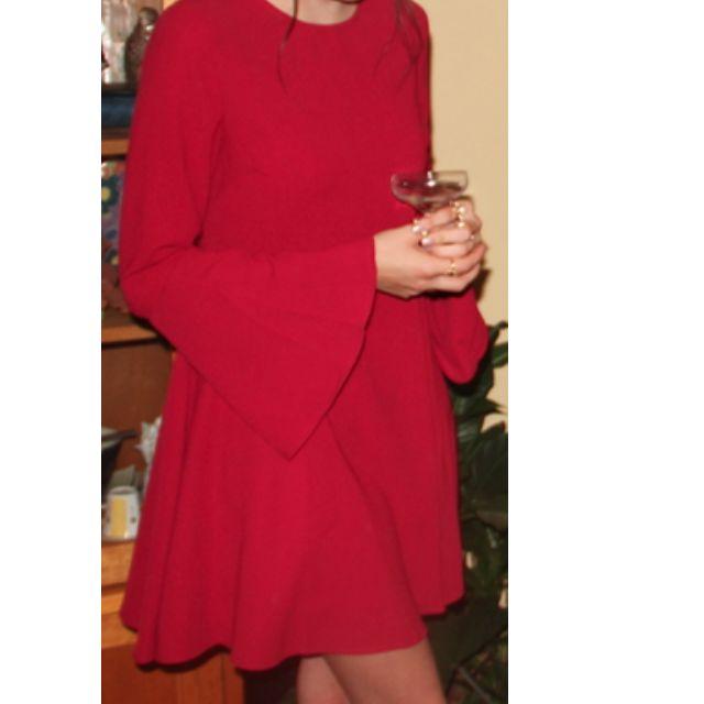 Nasty Gal Red Bell Raiser Crepe Dress