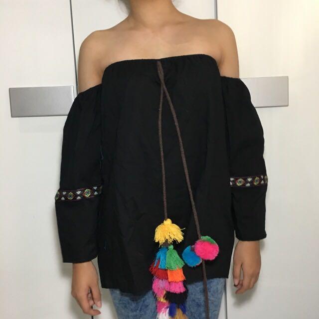 NEW BOHO Off Shoulder Black Sabrina pompom Tassel Top
