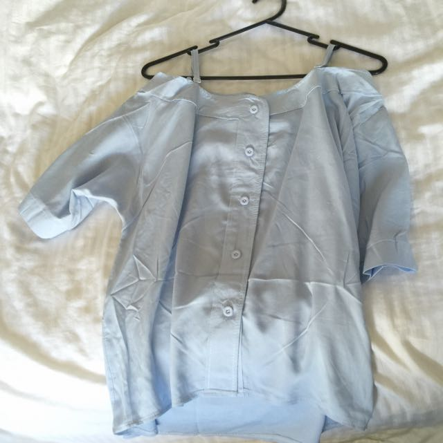 Off shoulder Baby Blue Blouse