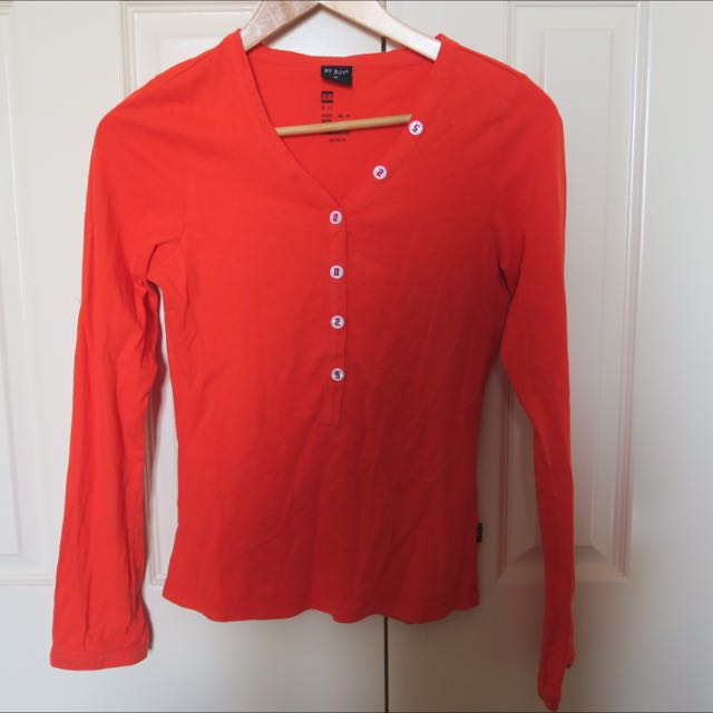 Orange Long Sleeve Top Size 8