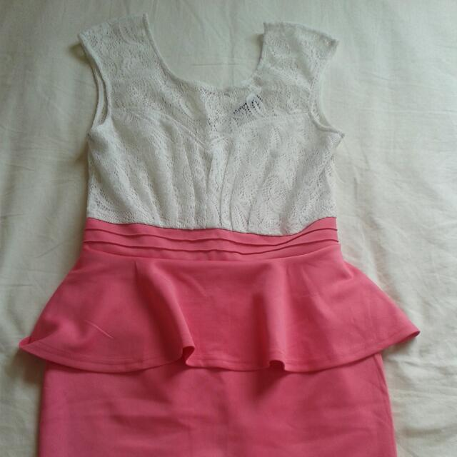 Pink And White Formal Dress