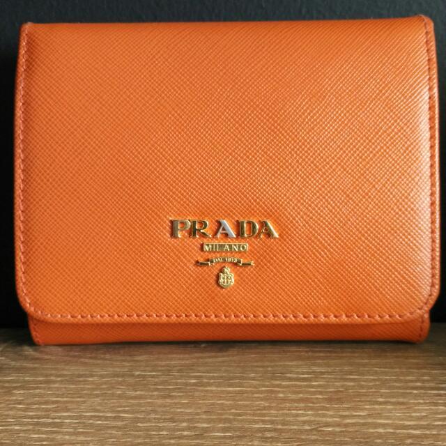 56c58b68fe0c ... sale prada saffiano tri fold purse in papaya luxury bags wallets on  d3e91 9721a