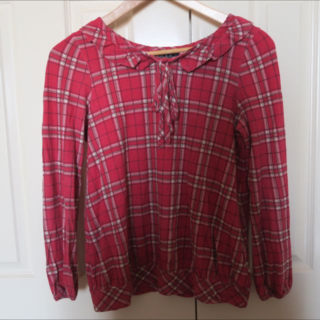 Red Plaid Blouse With Tie Collar