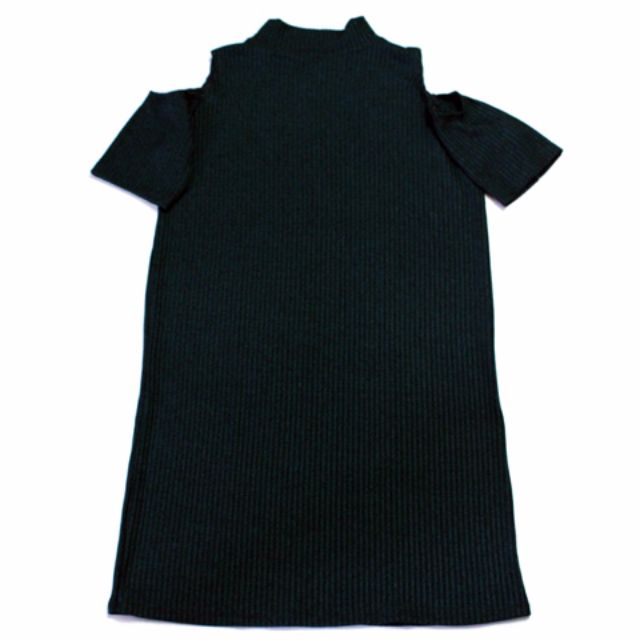 🌺NEW🌺RHB-D001 - Ribbed Turtle Neck Off-Shoulders Dress in Dark Green