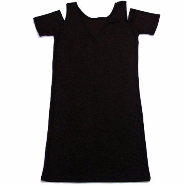 🌺NEW🌺RHB-D002 - Ribbed V-neck Off-Shoulders Dress in Brown