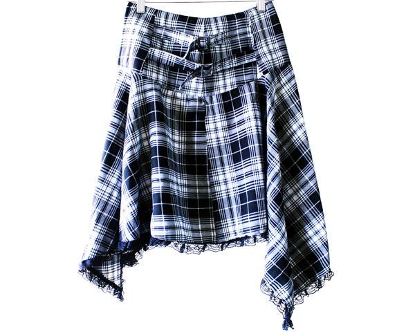RHB-S001 Asymmetrical Plaid Skirt