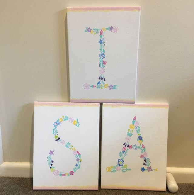 'S' 'I' 'A' Hand Painted Canvases