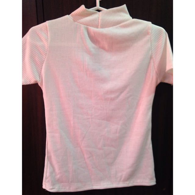 semi turtleneck white blouse