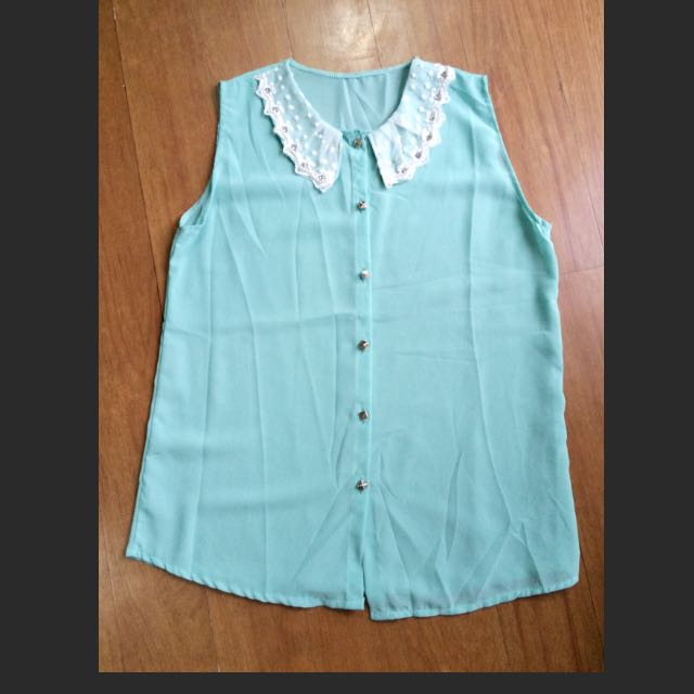 Sheer Blue Green Blouse