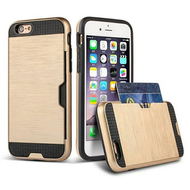 Shock Proof Plastic TPU Hybrid Armor Case For Apple iPhone 7/7 Plus SE Card Holder Slot