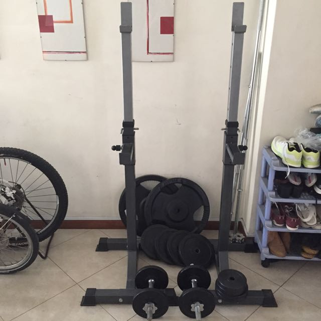 Squat Rack, Barbell Straight Bar, Rubberised Weight Plates