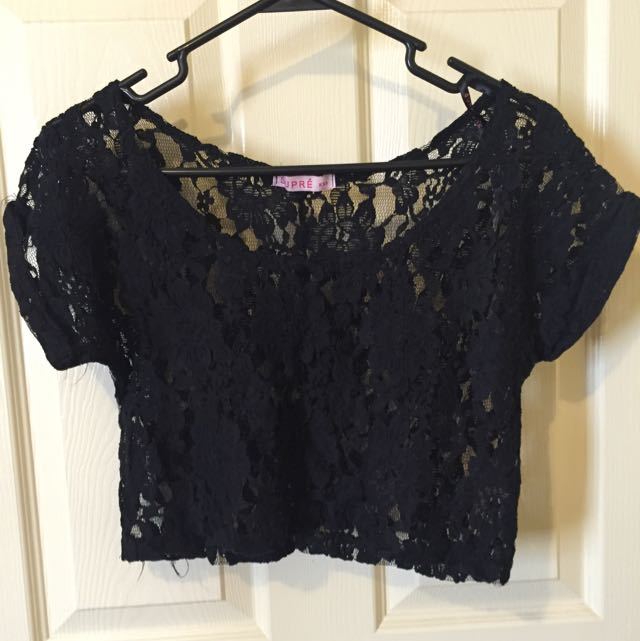 Supre Black Lace Crop Top