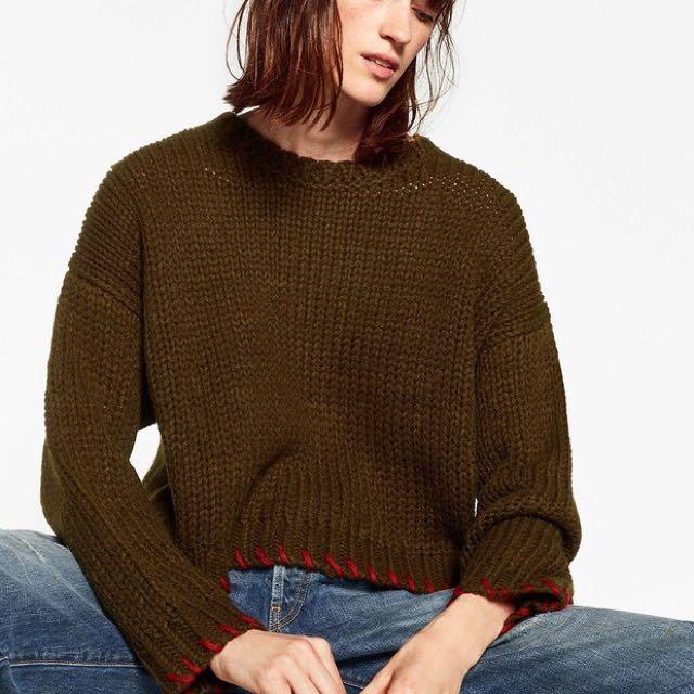 歐美圓領縫線設計針織毛衣(top)