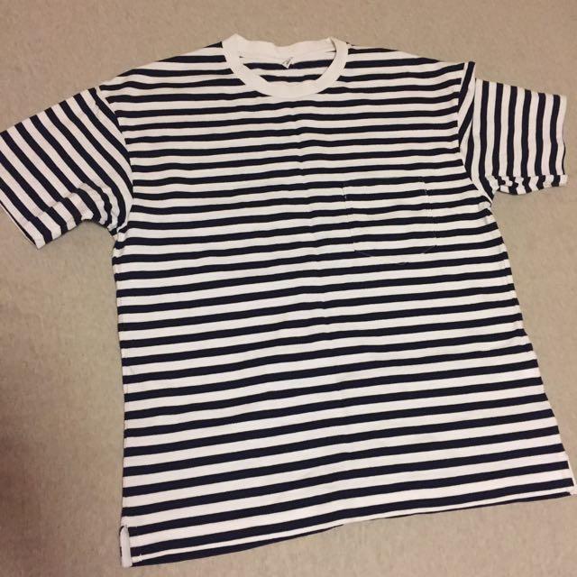 ✨降價✨「二手」Uniqlo 棉麻橫條紋短袖上衣