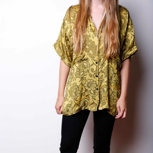 Vintage Gold Floral Button Up Shirt