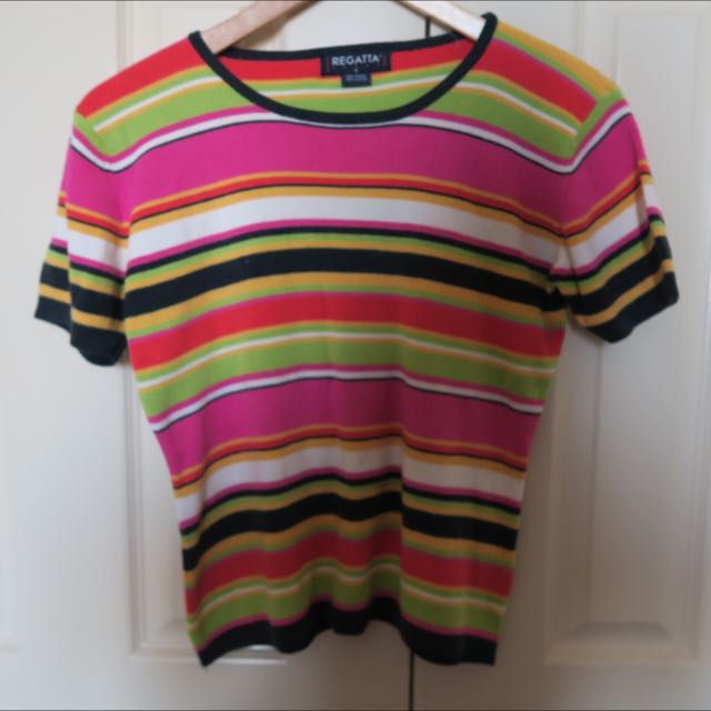 vintage Multicolour Knitted Stripe Top