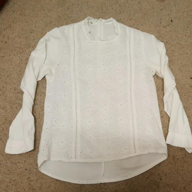 White Lace Front Top. Size 4 To 6