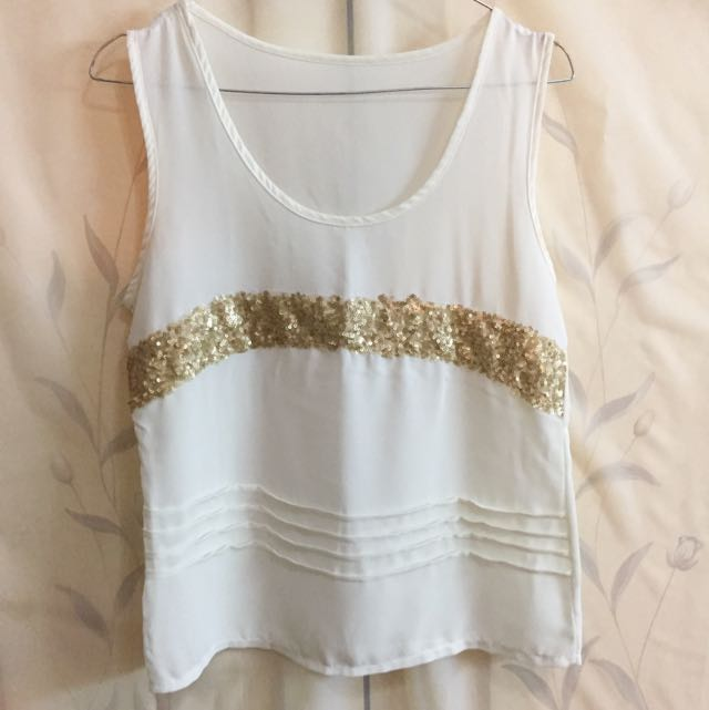 White Tank Top With Gold