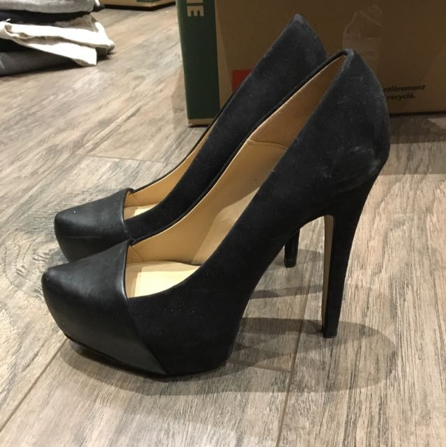 Zara Suede And Leather Toe Pumps