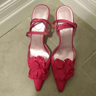 Hot Pink Fuchsia Satin Dress Shoe Sz 7.5 Enzo Angiolini (Nine West)