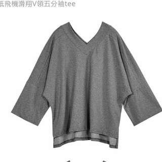 (711含運)Lamo.3紙飛機滑翔V領五分袖T-shirt