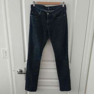 Seven For All Mankind Dark Straight Leg Jeans Sz 28