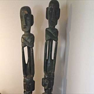 Hand Carved Tribal Totem Poles