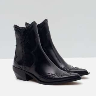 Zara Black Leather Cowboy Boot