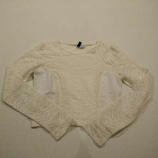 H&M Creamy/White Crop Top (Size 4)