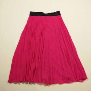 H&M Fushia Midi Accordion Skirt (Size 4)
