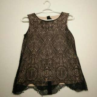 Attitude By J Manuel Lace Overlay Tank With Button-down Back (Size XS)