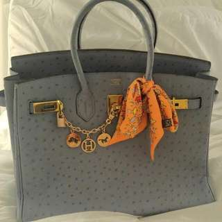 AUTHENTIC HERMES OSTRICH SKIN BIRKIN BAG *** SERIOUS INQUIRIES ONLY ****