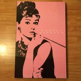 Pink And Black Audrey Hepburn Canvas Photo