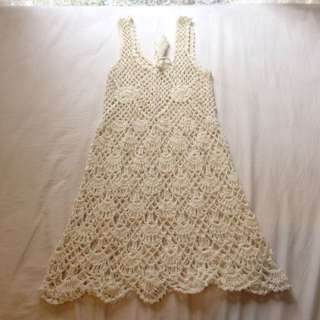Cream Crochet Dress