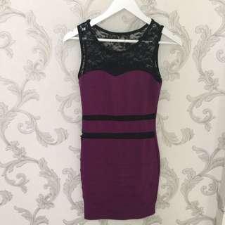 dress ungu brokat