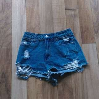 XXS High-waist Ripped Denim Shorts