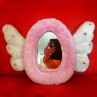 Pink And White Fur Mirror Girls Room Decor