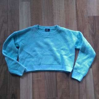 XS Baby Blue Crop Sweater