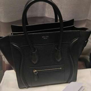 Auth Celine Micro Luggage Black