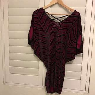 Blockout Genuine Red & Black Striped With Black Criss Cross At Back