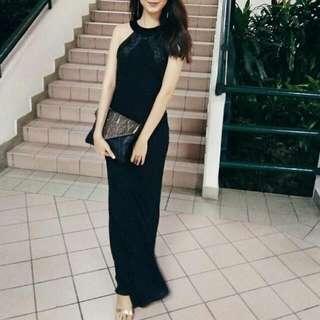 Prom Dress Black Bias Cut For Rent