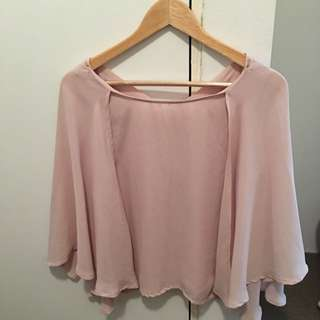 Old Rose Cape Sleeve Top