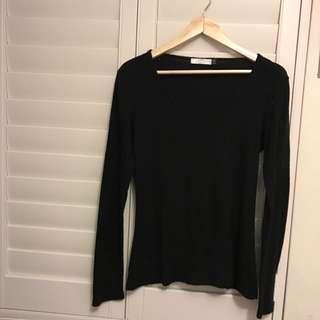 Glassons Genuine Merino Black Long Sleeved Top