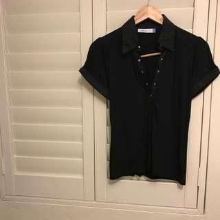 Urbane Black Collared Short Sleeve Shirt