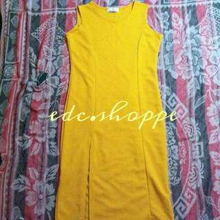 RESERVED Yellow Dress with side slit