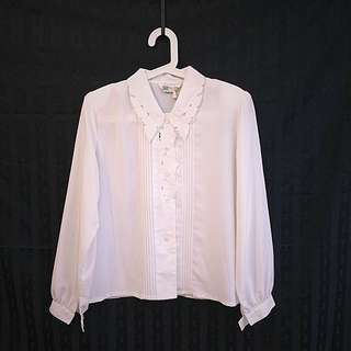 🕊古著🕊純白雕花領復古乾淨襯衫 早期台灣Vintage 簡潔文藝少女 壓花 精緻日式古董老襯衫