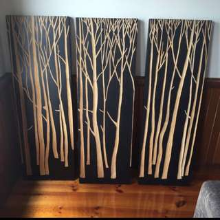 3 Panels Of Artwork Made From Wood